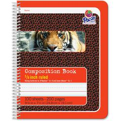 "Pacon Composition Book - 100 Sheets - 200 Pages - Spiral Bound - Short Way Ruled - 0.63"" Ruled - 4.50"" Picture Story Space 7 1/2"" x 9 3/4"" - Red Cover - 1Each"