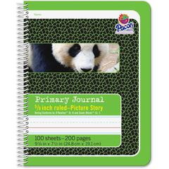 "Pacon Composition Book - 100 Sheets - 200 Pages - Spiral Bound - Short Way Ruled - 0.63"" Ruled - 4.50"" Picture Story Space 7 1/2"" x 9 3/4"" - Green Cover - 1Each"