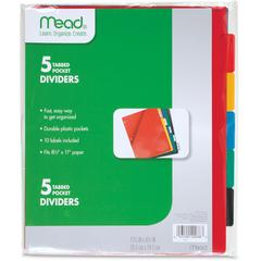 "Five Star 5 Tabbed Pocket Dividers - 9.5"" Divider Width x 11.25"" Divider Length - 3 Hole Punched - Multicolor Divider - 5 / Pack"