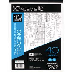 """Mead Academie Translucent Tracing Paper Pad - 40 Sheets - Tape Bound - 9"""" x 12"""" - White Paper - 1Each"""