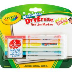 Fine Line Washable Dry Erase Markers - Bullet Point Style - Assorted - 6 / Pack