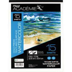 """Mead Academie Textured Watercolor Paper Pad - 15 Sheets - Tape Bound - 9"""" x 12"""" - White Paper - 1Each"""