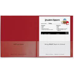 "C-Line Classroom Connector Folders, Red, 25/BX, 32004 - Letter - 8 1/2"" x 11"" Sheet Size - 2 Internal Pocket(s) - Polypropylene - Red - 25 / Box"
