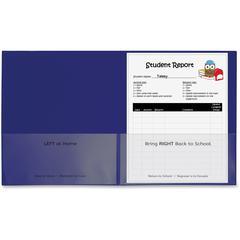 "C-Line School-To-Home Folder - Letter - 8 1/2"" x 11"" Sheet Size - 2 Internal Pocket(s) - Polypropylene - Blue - 25 / Box"