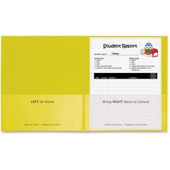 "C-Line School-To-Home Folder - Letter - 8 1/2"" x 11"" Sheet Size - 2 Internal Pocket(s) - Polypropylene - Yellow - 25 / Box"