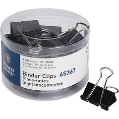 Business Source Medium 24-count Binder Clips - Medium - for Paper, Project, Document - 1Pack - Black - Steel, Zinc