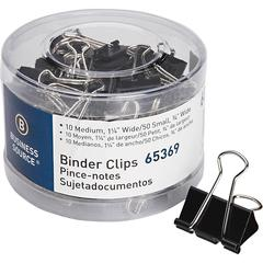 Business Source Small/Medium Binder Clips Set - Small, Medium - for Paper, Project, Document - 1Pack - Black - Steel, Zinc