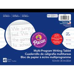 """Pacon Multi-Program Handwriting Tablet - 40 Sheets - Both Side Ruling Surface - Ruled - 1.13"""" Ruled - 10 1/2"""" x 8"""" - White Paper - Assorted Cover - 1Each"""