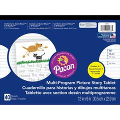 """Pacon Multi-Program Picture Story Tablet - 40 Sheets - Both Side Ruling Surface - Ruled, Dotted - 0.63"""" Ruled - 4.25"""" Picture Story Space 12"""" x 9"""" - White Paper - Assorted Cover - 40 / Tablet"""