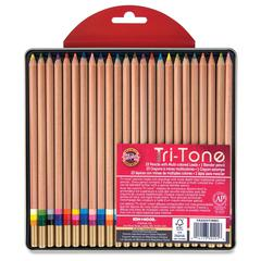 Koh-I-Noor Tri-Tone Multi-colored Pencils - Assorted Lead - 24 / Set