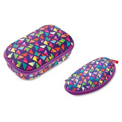 "ZIPIT Colorz Carrying Case for Pencil, Pen, School, Eyeglasses, Sunglasses - Purple - Scratch Resistant Interior - Nylon, Polyester, Fabric - Triangles - 8.6"" Height x 3.5"" Width x 0.7"" Depth"