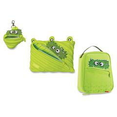 ZIPIT Monstar Carrying Case for Makeup, Memory Card, Key, Accessories, Food - Lime - Polyester - Handle