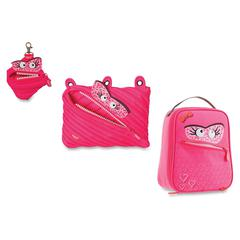 ZIPIT Monstar Carrying Case for Makeup, Memory Card, Key, Accessories, Food - Pink - Polyester - Handle