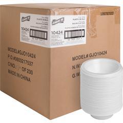 Genuine Joe Reusable Plastic Bowls - 125 / Pack - 12 fl oz Bowl - Plastic - Serving - Disposable - White - 1000 Piece(s) / Carton