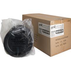 "Genuine Joe Round Plastic Black Plates - 125 / Pack - 9"" Diameter Plate - Plastic - Serving - Disposable - Black - 500 Piece(s) / Carton"