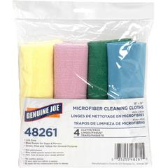 "Genuine Joe Color-coded Microfiber Cleaning Cloths - 16"" x 16"" - Blue Frost - MicroFiber - Lint-free - For Multipurpose - 4 Sheets Per Pack - 144 / Carton"