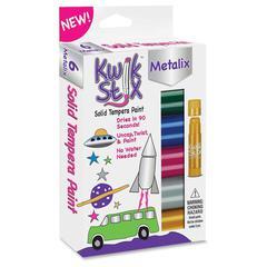 The Pencil Grip Kwik Stix Tempera Paint Metalix Sticks - 6 / Set - Assorted, Metallic