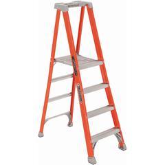 """Louisville 4' Fibrglss Platform Step Ladder - 4 Step - 300 lb Load Capacity48"""" - Orange"""