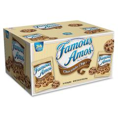 Famous Amos&reg Cookies Chocolate Chip - Chocolate Chip - Pouch - 1 - 1.25 lb - 36 / Carton