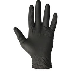 ProGuard Disposable Nitrile Gen. Purpose Gloves - X-Large Size - Nitrile - Black - Ambidextrous, Disposable, Powder-free, Beaded Cuff - For Cleaning, Chemical, Small/Sharp Object Handling, Material Ha