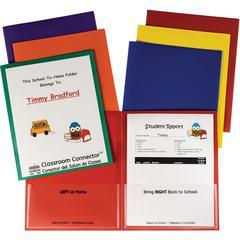 School-To-Home Folder - 2 Front & Back Pocket(s) - Polypropylene - Red, Orange, Yellow, Blue, Green, Purple - 36 / Box