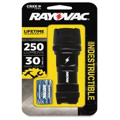 Rayovac Industrial Grade Indestructible Flashlight - AAA - AluminumCasing, RubberHead, RubberCap - Black