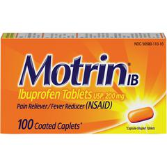 Motrin Ibuprofen Caplets - For Fever, Common Cold, Headache, Backache, Muscular Pain, Arthritis, Toothache - 100 / Box