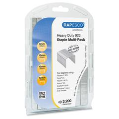 "Rapesco 923 Galvanized Staples Multi-Pack - 5/16"", 3/8"", 1/2"", 13mm - for Paper - Heavy Duty - 3200 / Box"