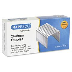 "Rapesco 26/8mm Galvanized Staples - 26/8mm - 5/16"" Leg - 5000 / Each"
