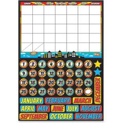 "Ashley Superhero Magnetic Calendar Set - Superhero, Fun Theme/Subject - Write on/Wipe off, Built-in Magnet - 12"" Width x 17"" Depth - Multicolor - 1 Pack"