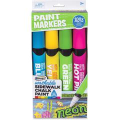 RoseArt Washable Sidewalk Chalk Paint Markers - Jumbo Point Type - Blue, Hot Pink, Lime Green, Neon Yellow - 4 / Pack