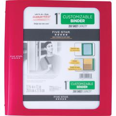 "Five Star Customizable 1"" Binder - 1"" Binder Capacity - 200 Sheet Capacity - 3 x Ring Fastener(s) - 2 Pocket(s) - 1 Divider(s) - Plastic - Red - 1 Each"