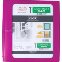 "Five Star Customizable 1"" Binder - 1"" Binder Capacity - 200 Sheet Capacity - 3 x Ring Fastener(s) - 2 Pocket(s) - 1 Divider(s) - Plastic - Purple - 1 Each"