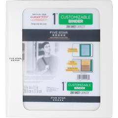 "Five Star Customizable 1"" Binder - 1"" Binder Capacity - 200 Sheet Capacity - 3 x Ring Fastener(s) - 2 Pocket(s) - 1 Divider(s) - Plastic - White - 1 Each"