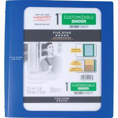 "Five Star Customizable 1"" Binder - 1"" Binder Capacity - 200 Sheet Capacity - 3 x Ring Fastener(s) - 2 Pocket(s) - 1 Divider(s) - Plastic - Blue - 1 Each"
