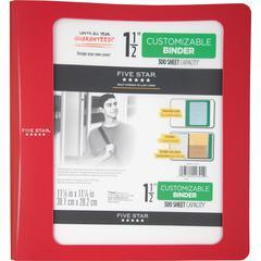 "Five Star Customizable 1-12"" Plastic Binder - 1 1/2"" Binder Capacity - 11 1/10"" x 11 27/32"" Sheet Size - 300 Sheet Capacity - 3 x Ring Fastener(s) - 2 Pocket(s) - 1 Divider(s) - Plastic - Red - 1 Each"