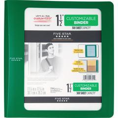 "Five Star 1-12"" Poly Customizable Biinder - 1 1/2"" Binder Capacity - 11 1/10"" x 11 27/32"" Sheet Size - 300 Sheet Capacity - 3 x Ring Fastener(s) - 2 Pocket(s) - 1 Divider(s) - Plastic - Green - 1 Each"