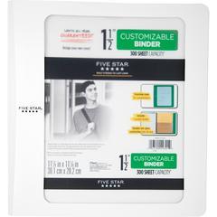 "Five Star Customizable 1-12"" Plastic Binder - 1 1/2"" Binder Capacity - 11 1/10"" x 11 27/32"" Sheet Size - 300 Sheet Capacity - 3 x Ring Fastener(s) - 2 Pocket(s) - 1 Divider(s) - Plastic - White - 1 Ea"