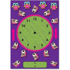 Ashley Birds/Owls Clock Bulletin Board Set - Clock Theme/Subject - Magnetic - 1 / Pack
