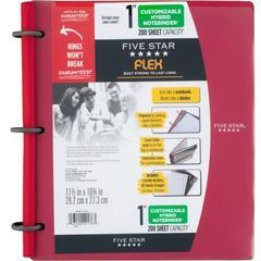 "Five Star FiveStar Flex Hybrid 1"" NoteBinder - 1"" Binder Capacity - Letter - 8 1/2"" x 11"" Sheet Size - 200 Sheet Capacity - 3 x Ring Fastener(s) - 1"" Fastener Capacity - Plastic - Red - 1 Each"