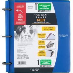 "Five Star FiveStar Flex Hybrid 1"" NoteBinder - 1"" Binder Capacity - Letter - 8 1/2"" x 11"" Sheet Size - 200 Sheet Capacity - 3 x Ring Fastener(s) - 1"" Fastener Capacity - Plastic - Cobalt - 1 Each"