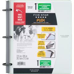 "Five Star FiveStar Flex Hybrid 1"" NoteBinder - 1"" Binder Capacity - Letter - 8 1/2"" x 11"" Sheet Size - 200 Sheet Capacity - 5 Divider(s) - Plastic - White - 1 Each"