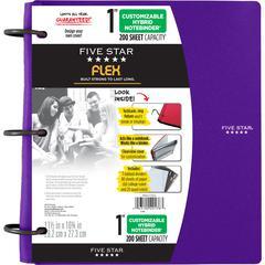 "Five Star FiveStar Flex Hybrid 1"" NoteBinder - 1"" Binder Capacity - Letter - 8 1/2"" x 11"" Sheet Size - 200 Sheet Capacity - 3 x Ring Fastener(s) - 5 Divider(s) - Plastic - Berry - 1 Each"