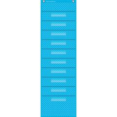 "Teacher Created Resources Polka Dot Storage Pocket Chart - 10 Pocket(s) - 58"" Height x 14"" Width - Hanging - Clear, Aqua Label Holder - Vinyl, Plastic - 1Each"