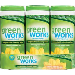 Green Works Compostable Cleaning Wipes - Wipe - 90 / Canister - 15 / Carton - White