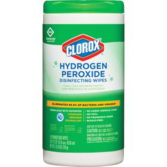 Clorox Hydrogen Peroxide Disinfecting Wipes - Wipe - 110 / Canister - 1 Each - White