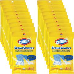 Clorox ScrubSingles Multi-Purpose Cleaning Pads - Pad - 3 / Packet - 1 Pack - Blue