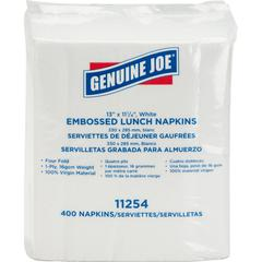 "Genuine Joe 1-ply Embossed Lunch Napkins - 1 Ply - Quarter-fold - 13"" x 11.25"" - White - Embossed, Versatile, Soft - For Lunch - 400 Quantity Per Pack - 400 / Pack"