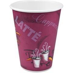 Solo Bistro Design Disposable Paper Cups - 12 fl oz - 1000 / Carton - Maroon - Paper - Beverage, Hot Drink, Cold Drink, Coffee, Tea, Cocoa