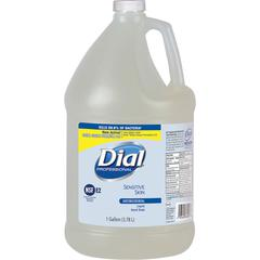 Dial Sensitive Skin Antimicrobial Soap Refill - Floral Scent - 1 gal (3.8 L) - Kill Germs, Bacteria Remover, Yeast Remover, Mold Remover - Skin, Hand - Clear - Antimicrobial, Hypoallergenic - 4 / Cart